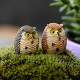 Resin Crafts - 5 Pieces Mini Owl/fairy Garden Gnome Decor/crafts/bonsai/doll House - FREE SHIPPING