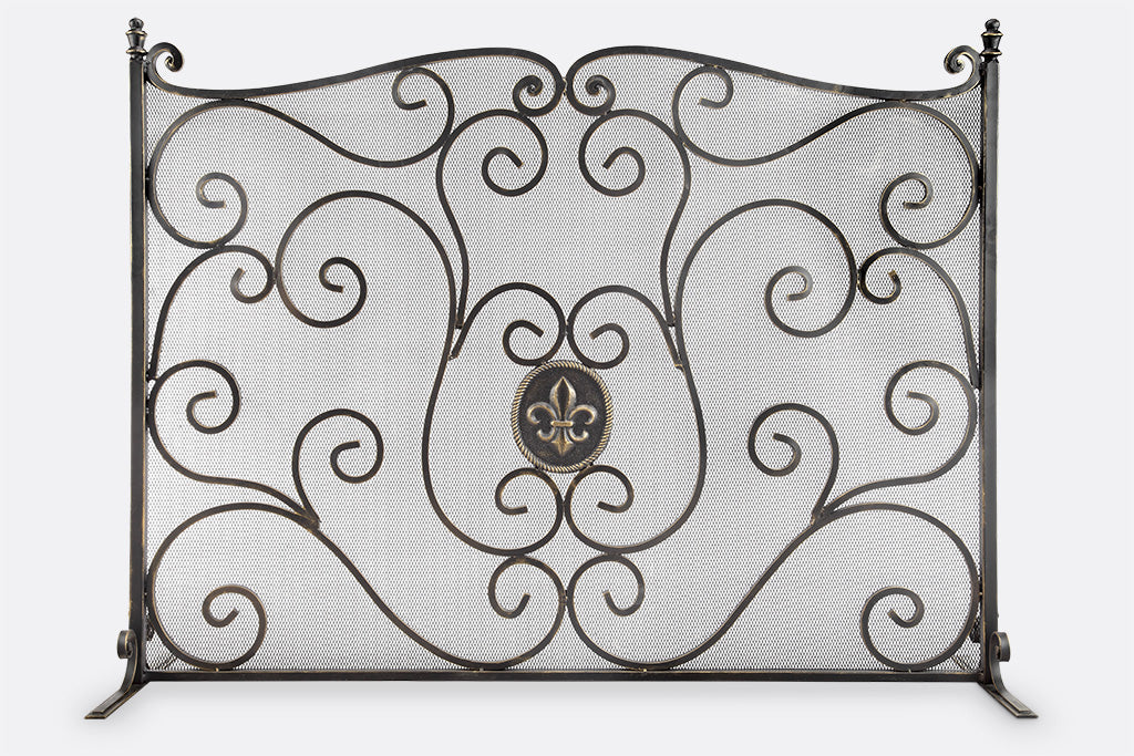 Fleur de Lys Mesh Fireplace Screen