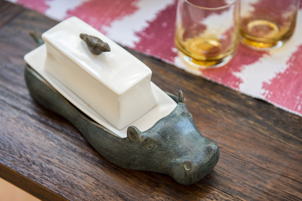 Whimsical Hippo Butter Dish