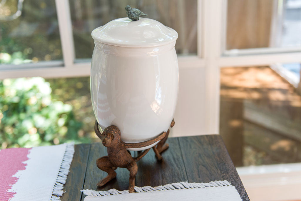 Whimsical Monkey Canister