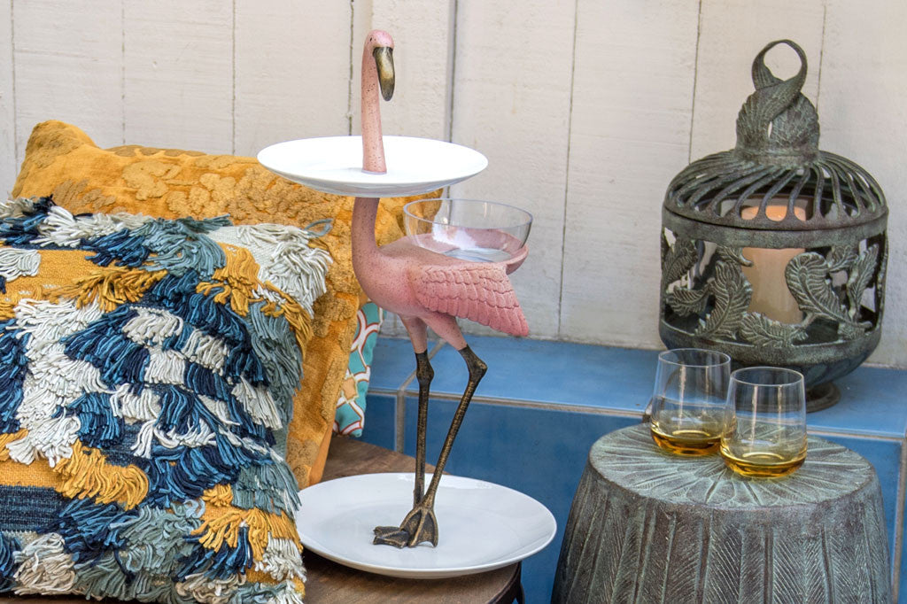 Whimsical Flamingo Plate Stand