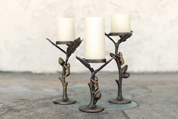 Aspen Bear Pillar Candleholder Set of 3