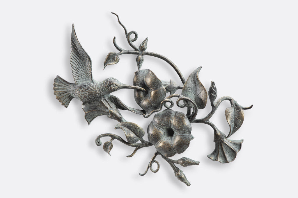 Hummingbird and Flowers Wall Plaque