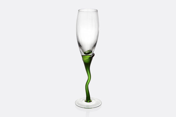 Spring Green Stem Champagne Flute Set of 6