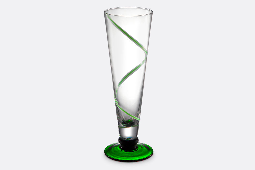 Dark Green Footed Highball Cocktail Glasses