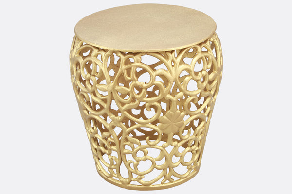 Leaf and Lattice Pattern Garden Stool