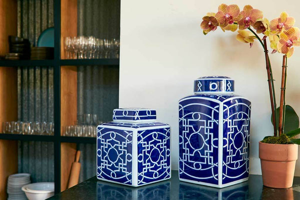 Ming Tall Fretwork Canister Blue
