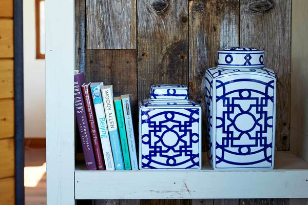 Ming Short Fretwork Canister White