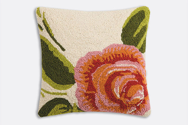 Rose Timide Hooked Pillow