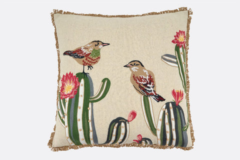 Cactus Finch Pillow