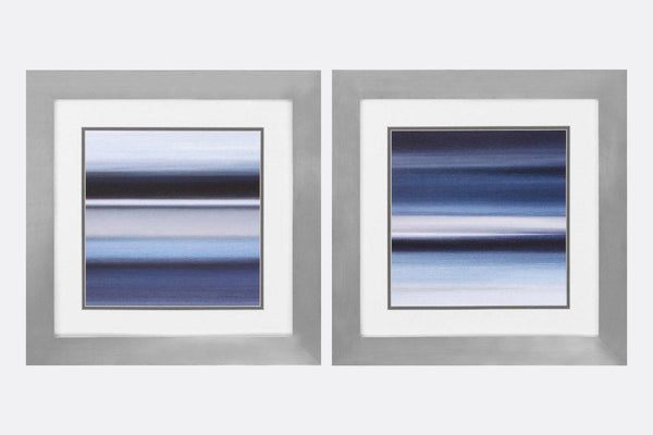 Indigo Stripes Set of 2 Framed Art