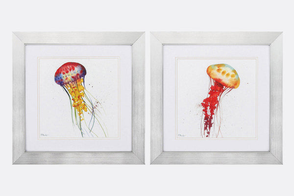 Bright Jellyfish Set of 2 Framed Art