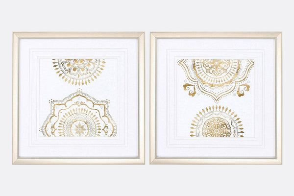 Golden Mandalas Set of 2 Framed Art