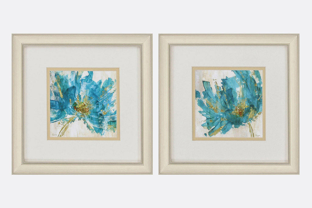 Blue Blossoms Set of 2 Framed Art