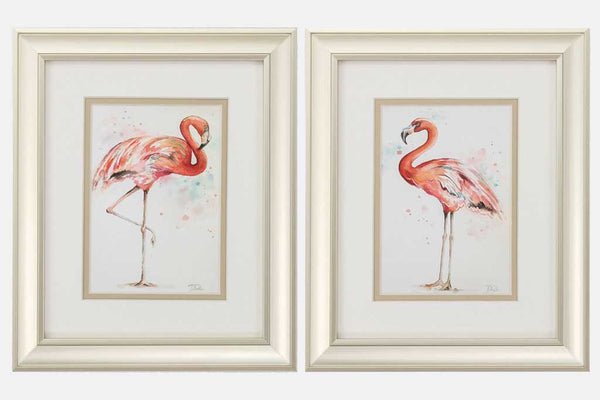 Set of 2 Flamingos Framed Art