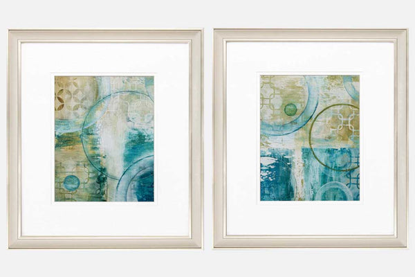 Teal Green Circles Set of 2 Framed Art