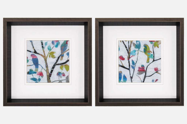 Colorful Birds Set of 2 Framed Art