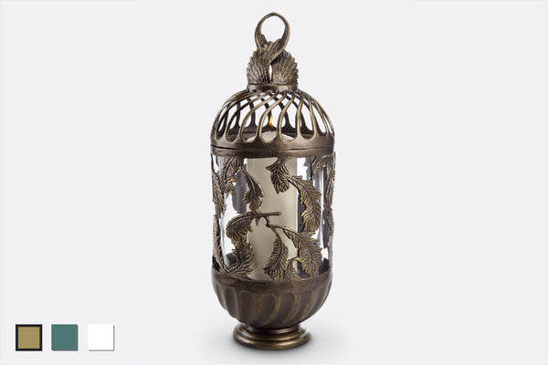 Swirling Feathers Lantern (Bronze, Verdi or White Finish)