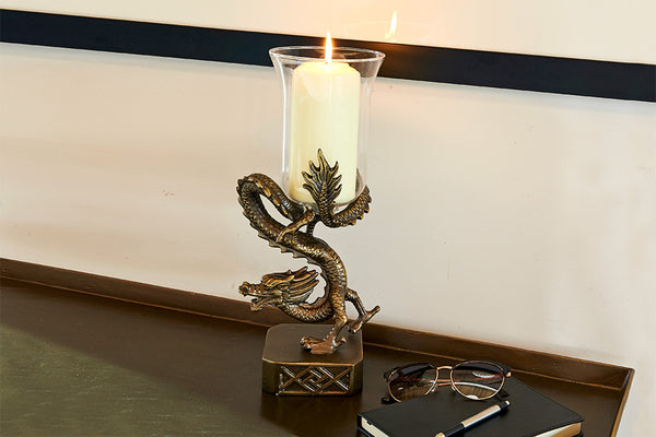 Ming Dragon Hurricane Candle Holder