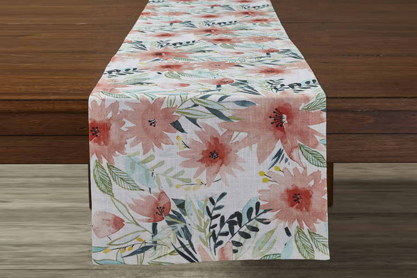 Watercolor Floral Table Runner