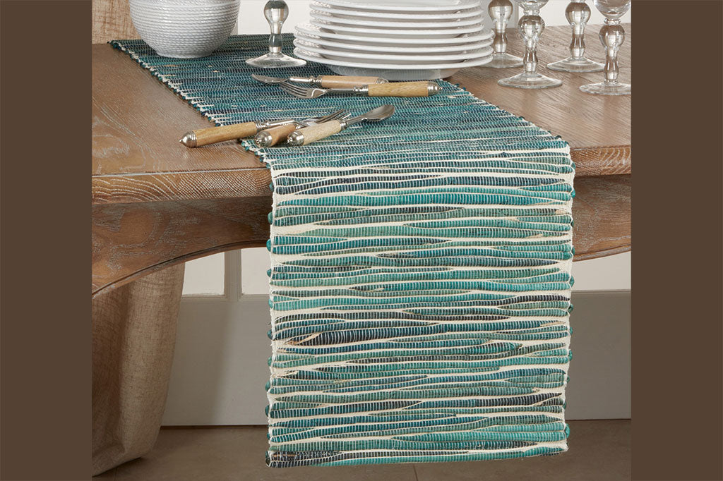 Teal Ripples Table Runner