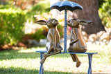Romantic Rabbit Pair on Bench