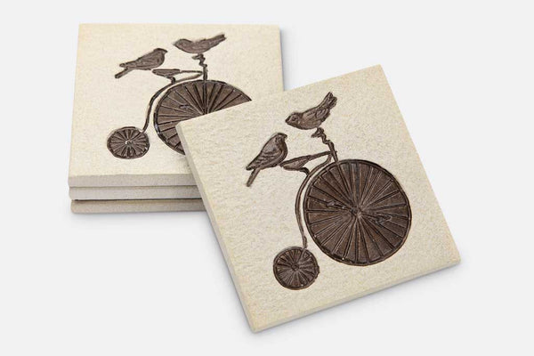 Coasters Lovebirds on Bicycle Set of 4