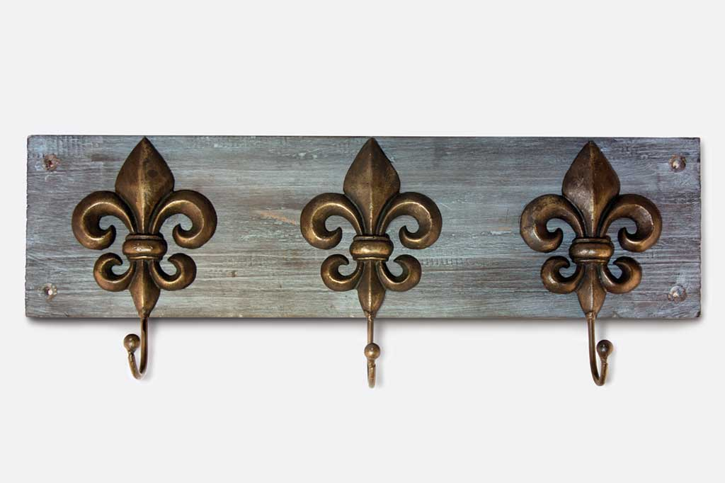 Fontaine Fleur de Lis Wood Wall Hook Set/3