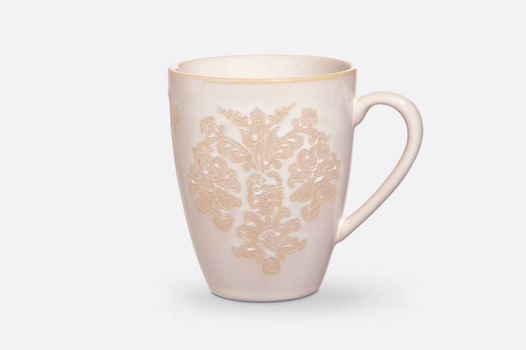 Damask Lace Mugs, Set of 4