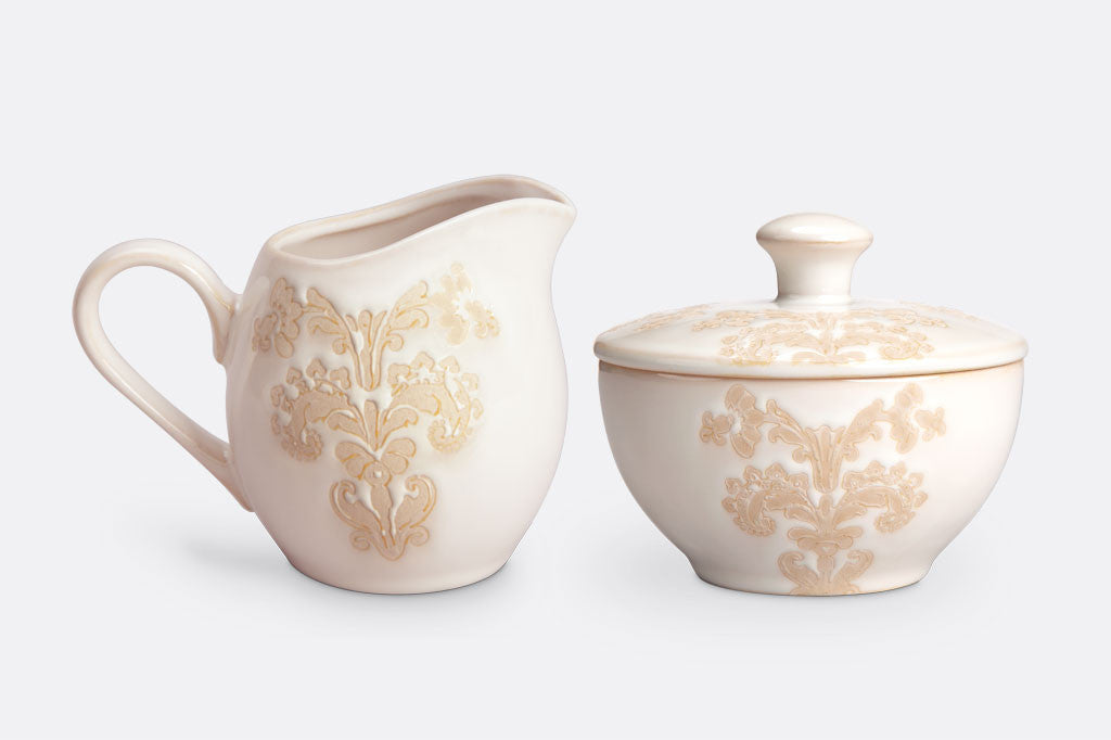 Damask Lace Cream & Sugar Set