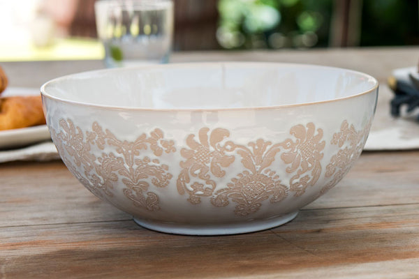 "Damask Lace Serving Bowl, 10"" Diameter"