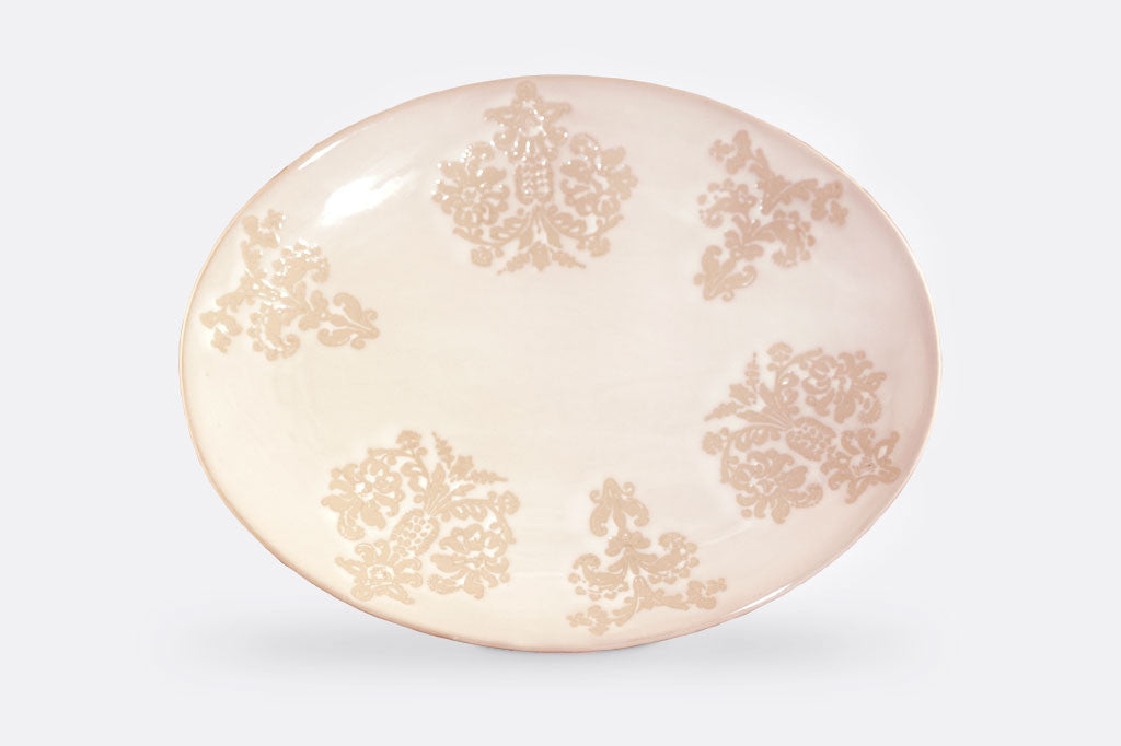 "Damask Lace Dinner Oval Plates, 10"" Deep x 12"" Wide, Set of 4"