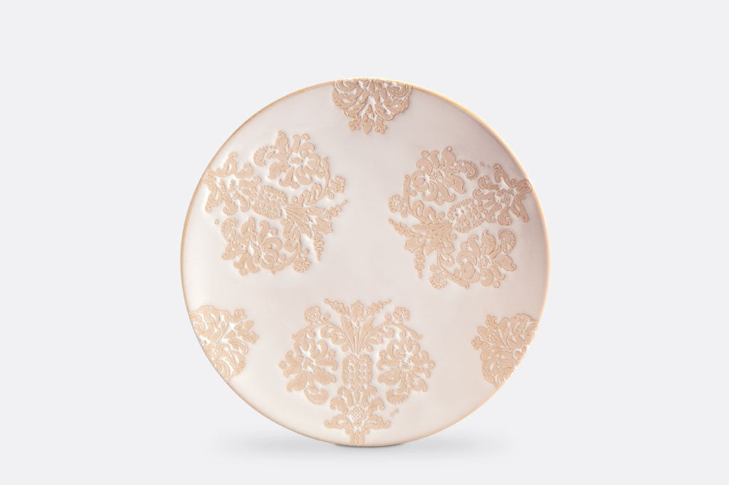 "Damask Lace Dessert Plates, 8"" Diameter, Set of 4"