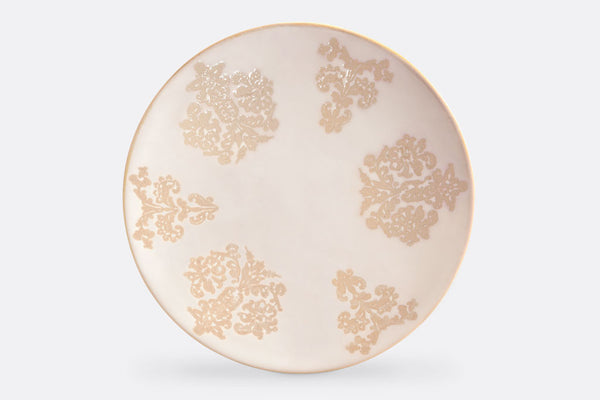 "Damask Lace Dinner Plates, 10"" Diameter, Set of 4"