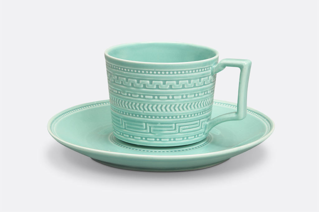 Jade Fretwork Teacup and Saucer