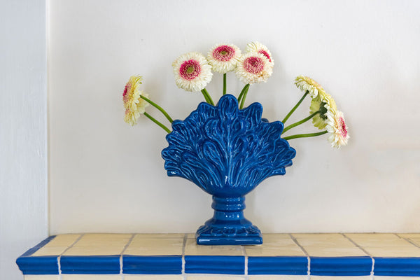 French Blue Flower Arranger
