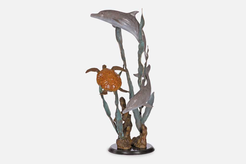 Aquatic Encounter (Turtle & Dolphin Sculpture)