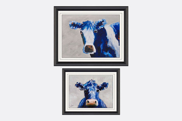 Moo Cow Two Framed Art S/2