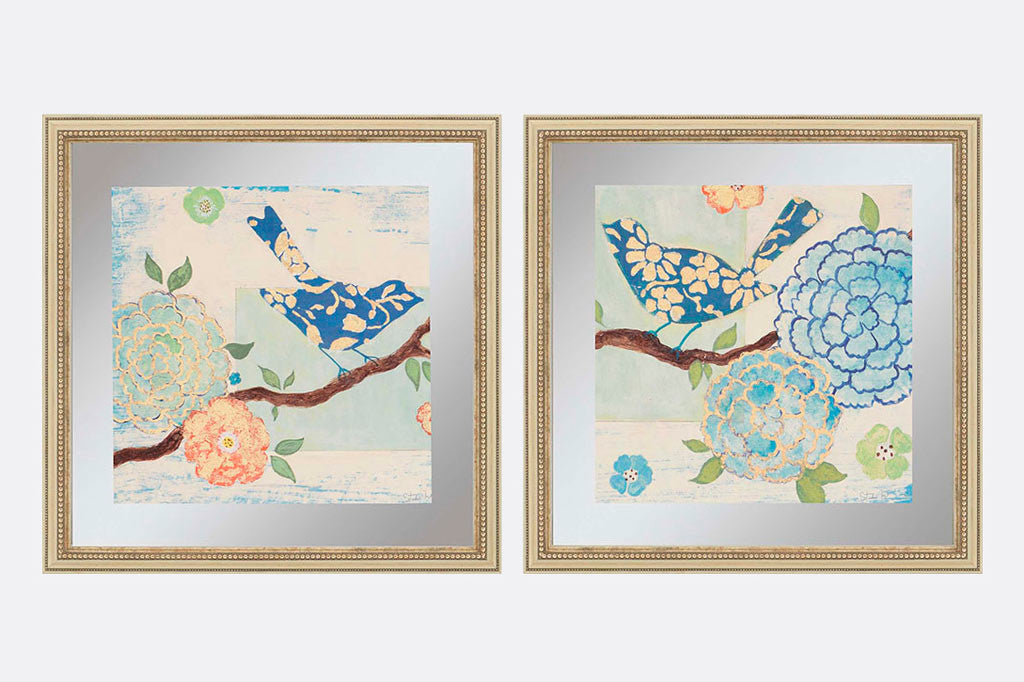Patterned Birds Framed Art S/2