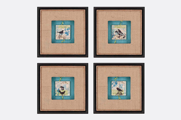 Bird Tiles Framed Art S/4