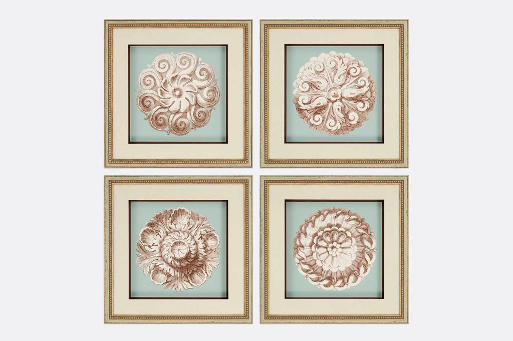 Rosettes Framed Art S/4