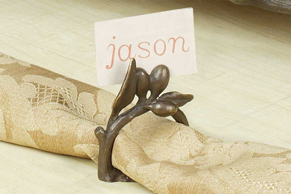 Tuscan Olive Napkin Ring and Placecard Holder (Set of 4)