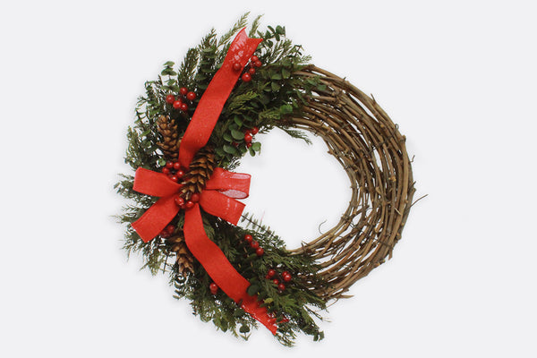 Red Ribbon Holiday Wreath