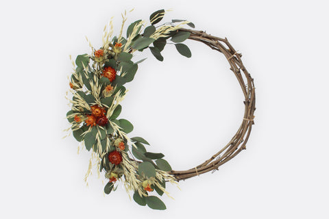 Straw Flowers & Eucalyptus Wreath