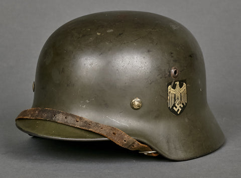 WWII German Model 1935 Army Double Decal Helmet, Named Twice