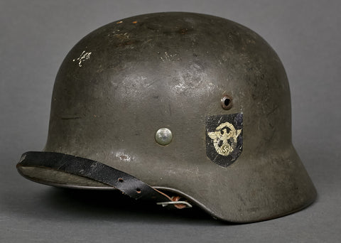 WWII German Model 1935 Police Double Decal Reissue Helmet