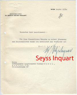 Letter from Reichsminister Dr. Arthur Seyss-Inquart, Than