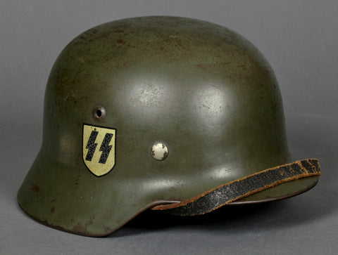 Spectacular, Named and Researched Model 1935 Double Decal SS Helmet to a Concentration Camp Guard