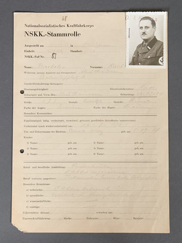 WWII German NSKK Document Grouping for Karl Emil Biecheler