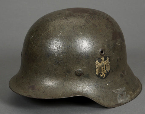 Named (Twice) German Model 1942 Army Single Decal Camouflage Helmet